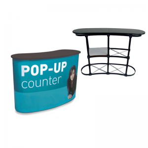 esempio di un espositore pop up counter con stampa e senza
