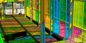 esempi di vetrofanie applicata dall'interno stampa speculare (finitura trasparente) colorate